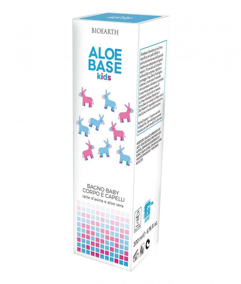 Деликатен Бебешки Гел-Душ за Коса и Тяло с Алое Вера и Магарешко Мляко 200 ml - Aloebase Kids Bioearth
