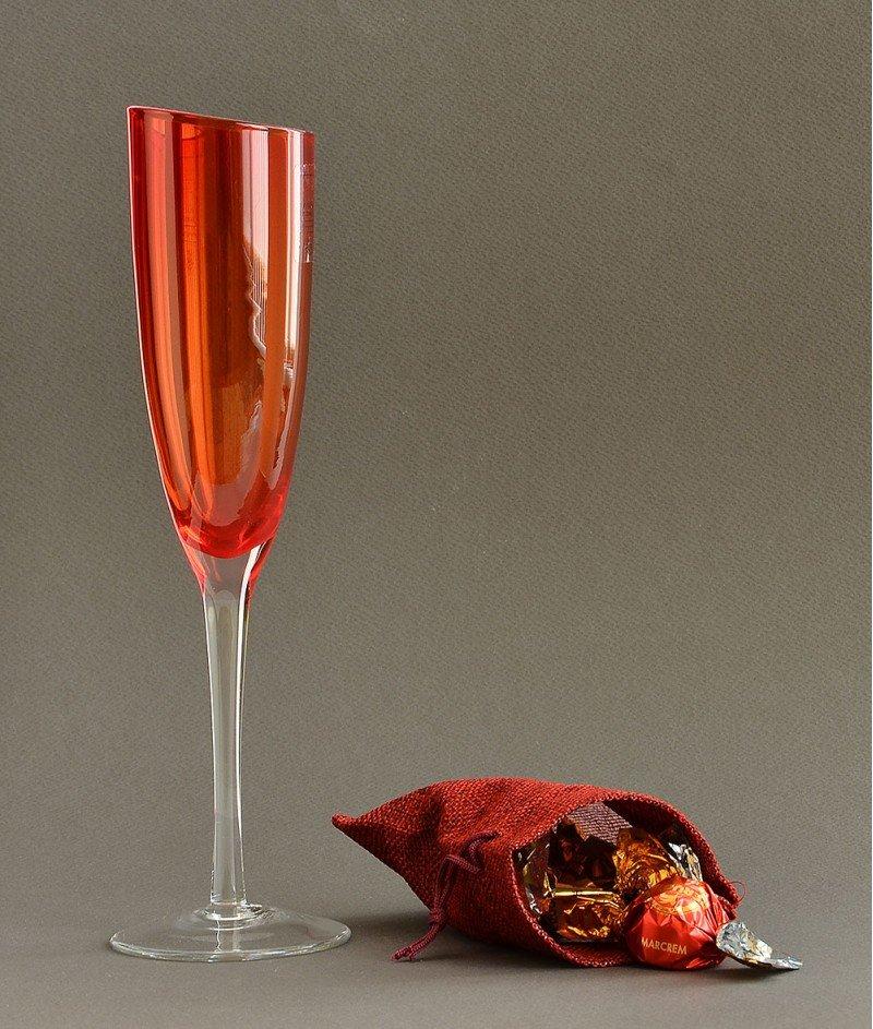 Двуцветна Стъклена Чаша за Шампанско, Ръчна Изработка, Червена - Bormioli Rocco