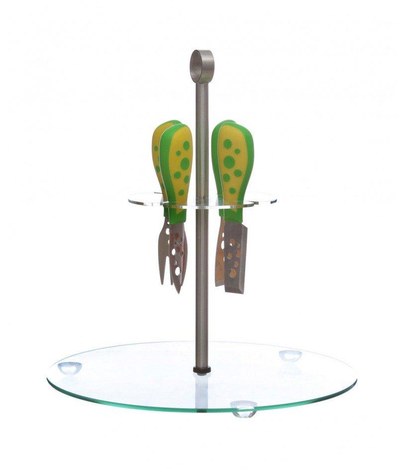 Комплект от Четири Ножа за Сирена и Стъклена Поставка - Kasanova