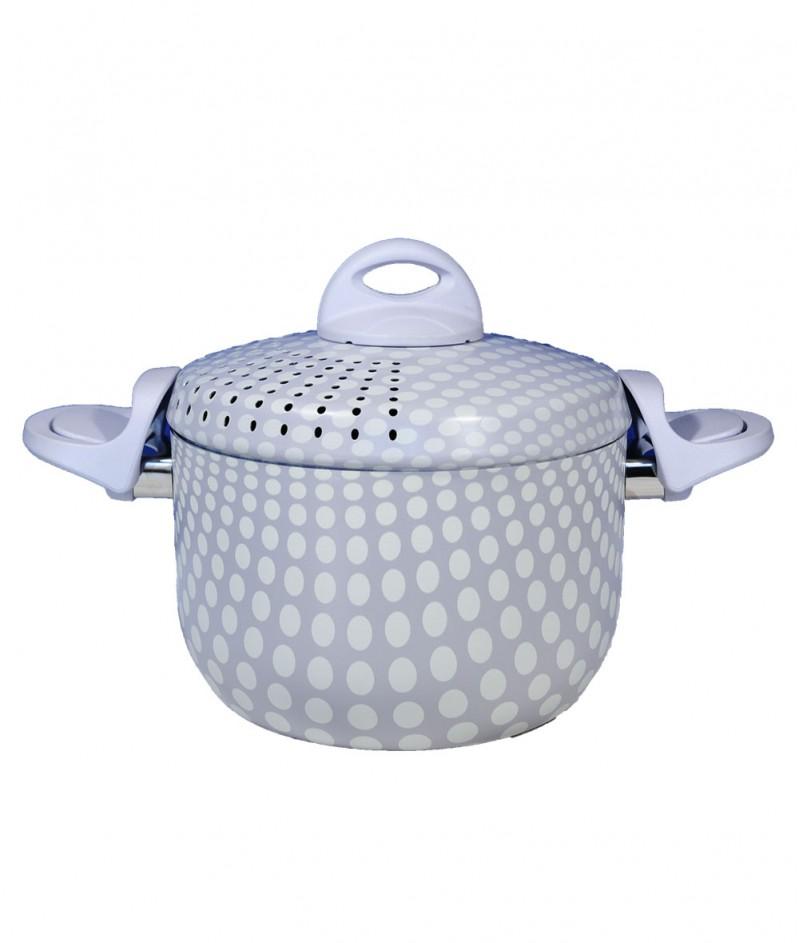 Тенджера за Паста с Незалепващо Покритие, Светло Сива на Бели Точки 20 cm  - Kitchen Collection